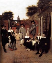 Pieter de Hooch -Portrait of a Family in a Courrtyard in Delft