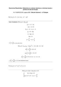 Exercícios Resolvidos Determine os valores máximos e mínimos locais e pontos de sela da função