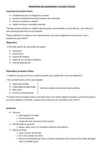 PRINCÍPIOS DA ANAMNESE E EXAME CLÍNICO