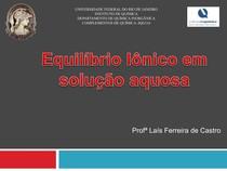 Aula 05-EQUILIBRIO IONICO EM SOLUÇÃO AQUOSA-LAIS