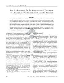 2001 AACAP Practice Parameter for the Assessment and Treatment of Children and Adolescents With Suicidal Behavior