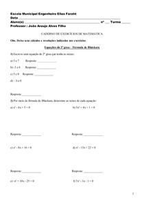 CADERNO DE EXERCÍCIOS DE MATEMÁTICA 9ano
