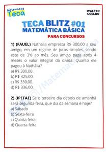 Teca blitz #01 - Questões de Matemática Básica para Concursos