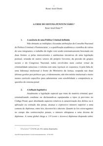 A crise no Sistema Penitenciário   René Ariel Dotti