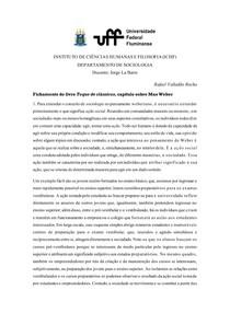 Fichamento - Toque de Clássicos (Max Weber)