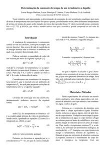 II relatório Fís. Exp II (Medição da constante de tempo de um termômetro a líquido)