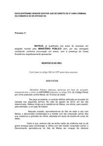 Peça Pronta Defesa Preliminar Resposta Do Réu Direito Penal