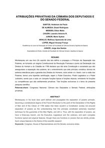 ATRIBUIÇÕES DA CÂMARA DOS DEPUTADOS E DO SENADO FEDERAL