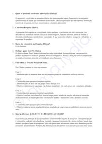 Questionário - Pesquisa Clínica