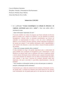 Questionário (exigências nutricionais)