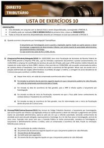 TRIBUTÁRIO II - LISTA DE EXERCÍCIOS 10 - RESPOSTAS