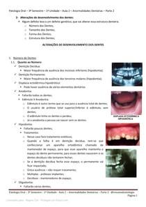 Anormalidades dentárias - Resumo completo por @resumodontologia