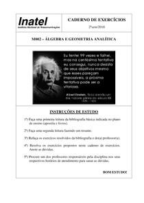 Caderno de Exercícios Álgebra e Geometria Analítica