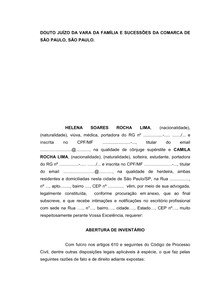 Petição Inicial - Inventário - MODELO