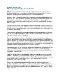 Economia Internacional _ Obama quer Oil de Lula