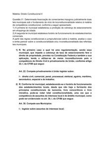 Atividade de Constitucional II - Constitucionalidade de leis municipais