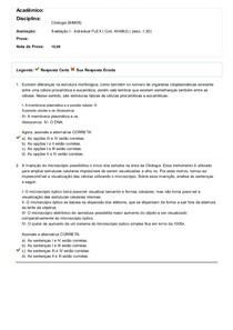 Citologia - Avaliação I - Flex Uniasselvi