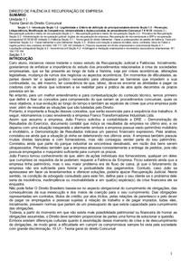 DIREITO DE FALÊNCIA E RECUPERAÇÃO DE EMPRESA