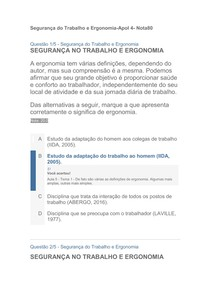 Segurança do Trabalho e Ergonomia Apol4  Nota 80