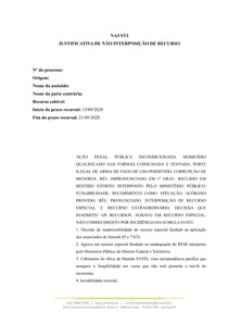 Justificativa de não interposição de recurso STJ - Sumula 83 STJ