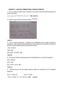 Análise combinatória- Arranjo- Gabarito
