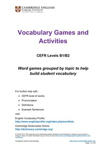 Vocabulary, Games and Activities - Inglês
