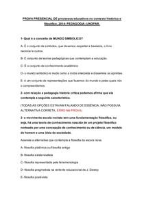 PROVA PRESENCIAL DE processos educativos no contexto histórico e filosófico-2014