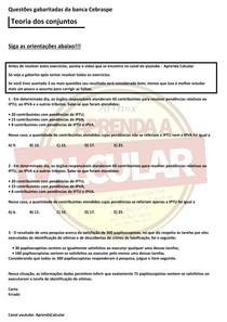 Questões gabaritadas da Banca Cebraspe , teoria dos conjuntos#EXCLUSIVOPD
