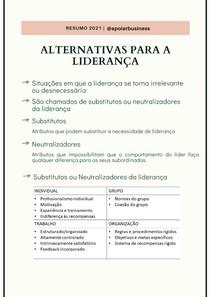 Resumo Alternativas para a liderança