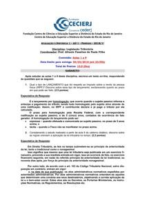 Legislação Tributária (2018.1)   AD1 GABARITO