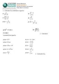 lista de exercicios derivada do produto e quociente