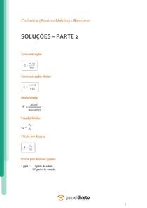 Soluções: cálculos de concentração - Resumo