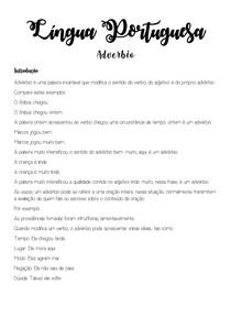Língua Portuguesa - Adverbio