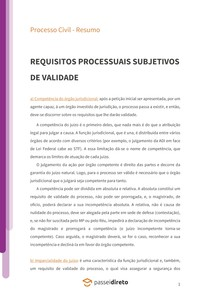 Requisitos processuais necessários à admissibilidade do processo - Resumo