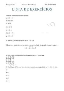 Lista de Exercícios Módulo e equação modular