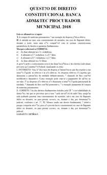 QUESTÃO DE DIREITO CONSTITUCIONAL BANCA ADM&TEC PROCURADOR MUNICIPAL 2018