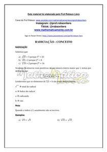 RADICIAÇÃO AULA 1 - CONCEITO - PROF ROBSON LIERS