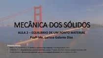 AULA 2   MECANICA DOS SOLIDOS   EQUILIBRIO DE UM PONTO MATERIAL
