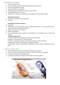 Microbiologia- introdução, estrutura e função