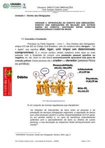 Unidade I. AULA 1 Direito das Obrigações