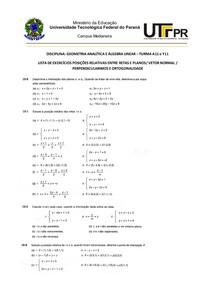 LISTA EXERCÍCIOS POSIÇÕES RELATIVAS ENTRE RETAS E PLANOS (1)