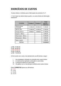 EXERCÍCIOS DE CUSTOS 1