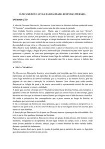 O DECAMERON E A FUGA DA REALIDADE - RESENHA LITERÁRIA