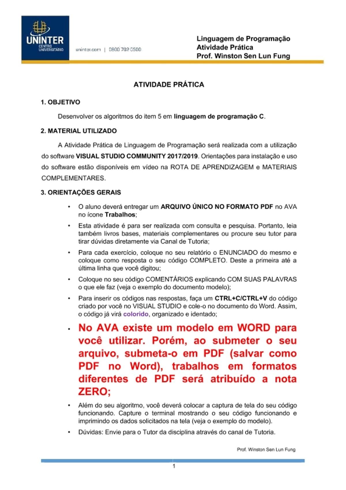 Pre-visualização do material ATIVIDADE PRATICA - UNINTER 2020 - LINGUAGEM DE PROGRAMAÇÃO - página 1