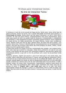 TEXTOS - 10 dicas para interpretar textos