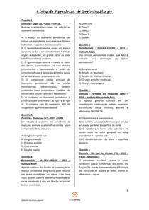 Lista de Exercícios de Periodontia #1 - Odontologia Para Concursos