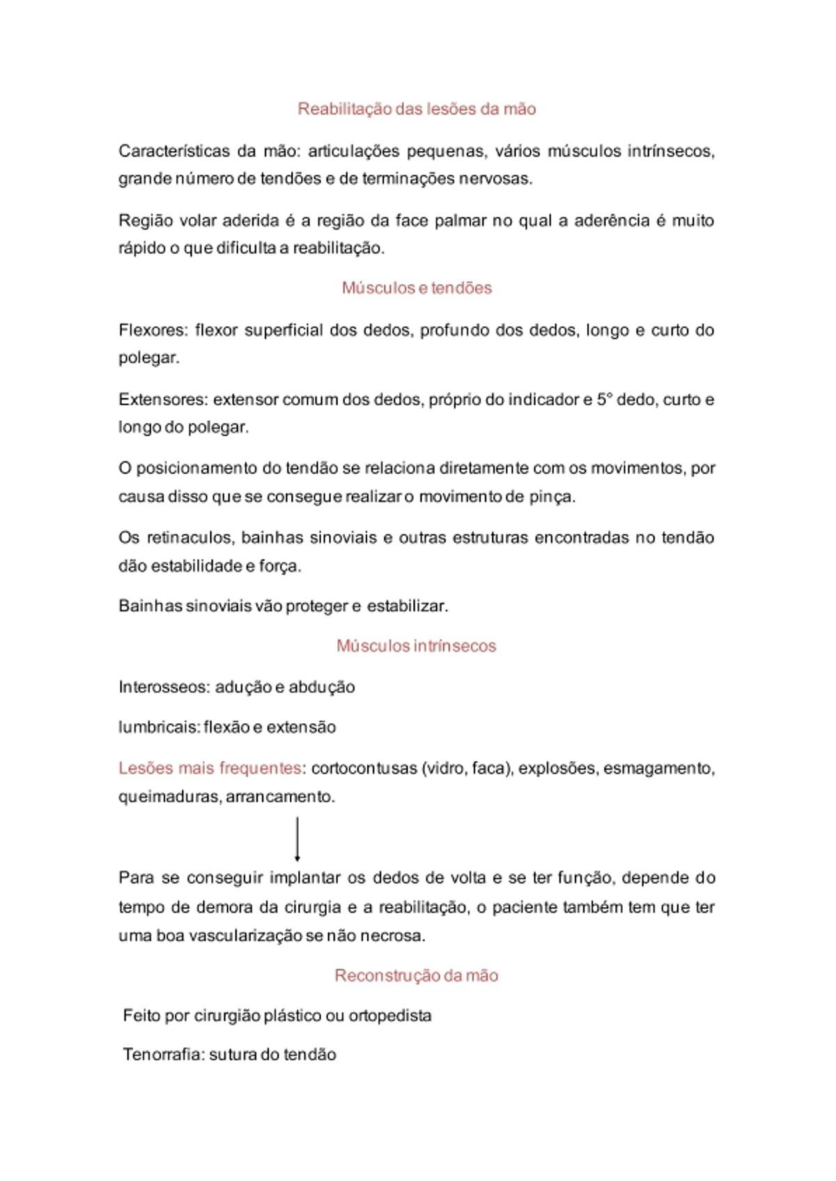 Pre-visualização do material Reabilitação das lesões da mão - página 1