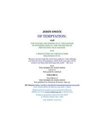 John Owen - Of Temptation