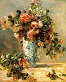 Renoir -Roses and Jasmine in a Delft Vase