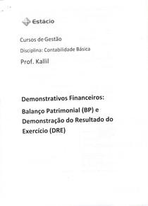 Balanço Patrimonial e Demonstração do Resultado do Exercício - BP e DRE